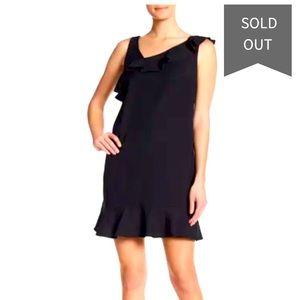 Nicole Miller black sleeveless asymmetrical dress